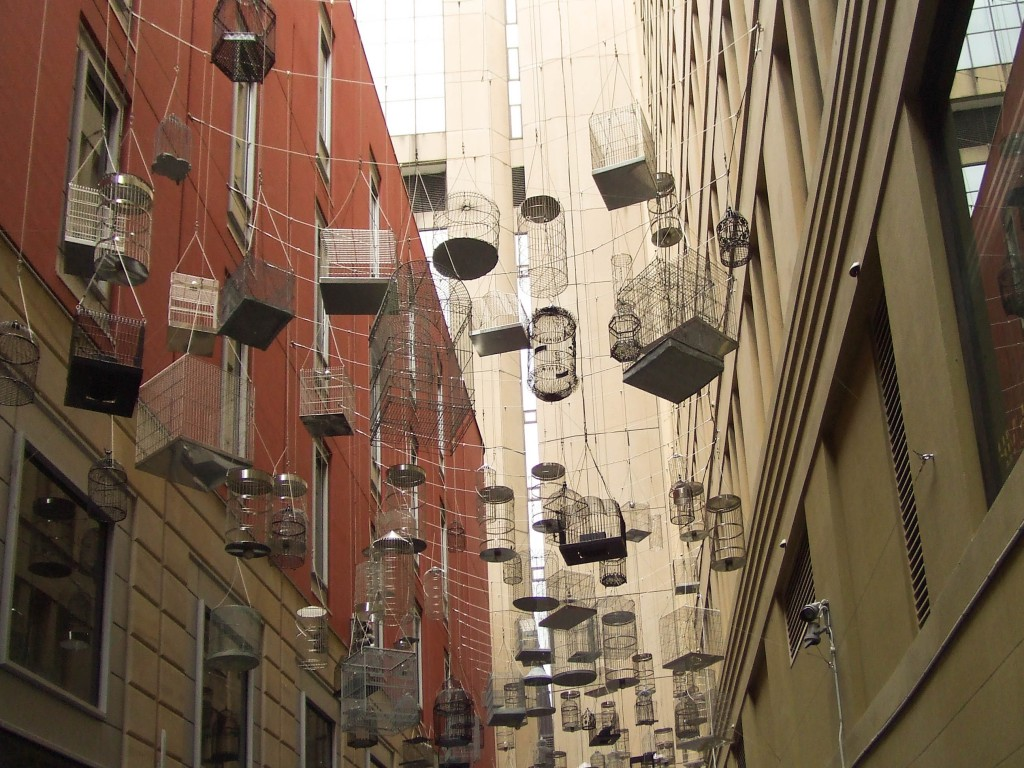 Suspended Birdcages at Angel Place