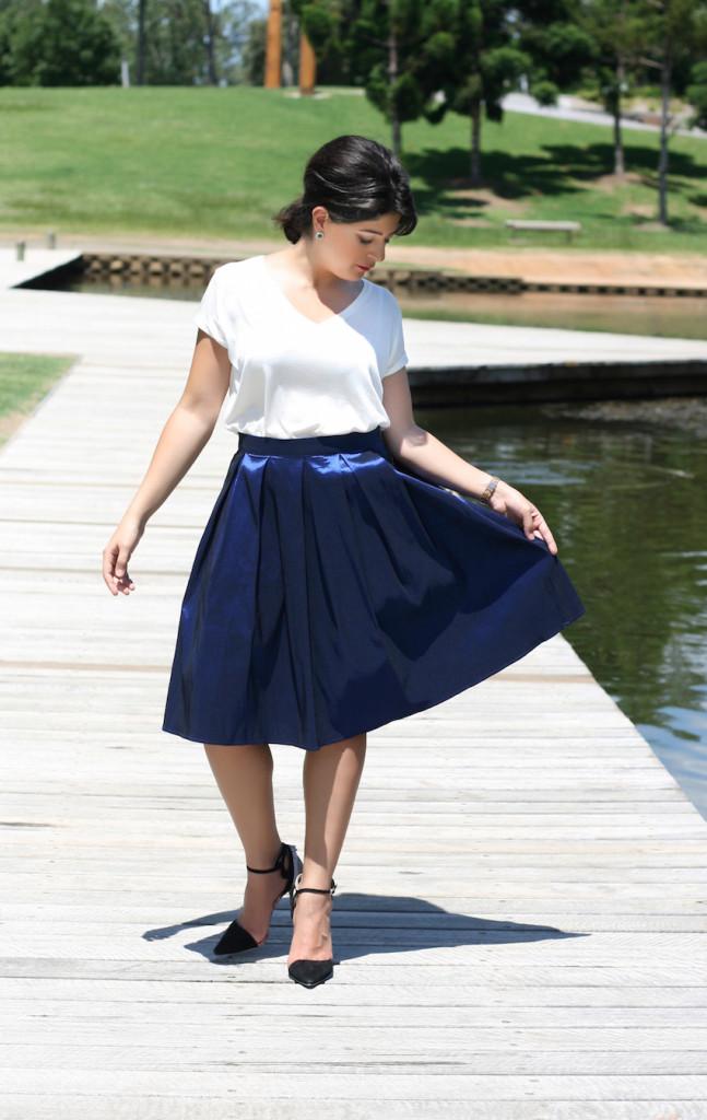 Blue A Line Skirt