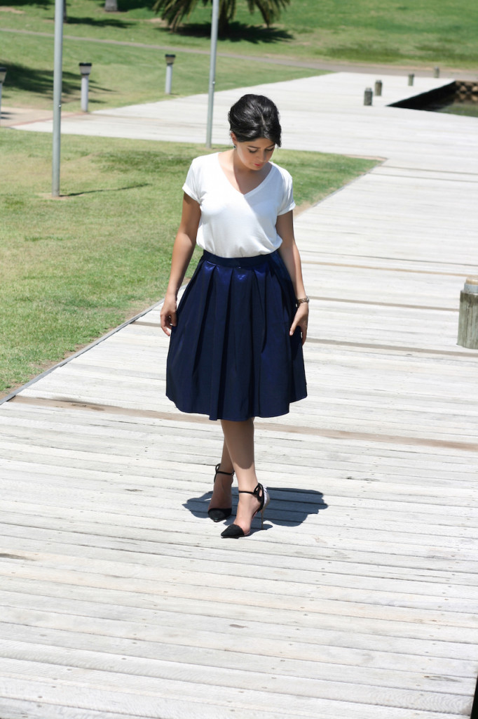 Blue A Line Skirt White Tee outfit
