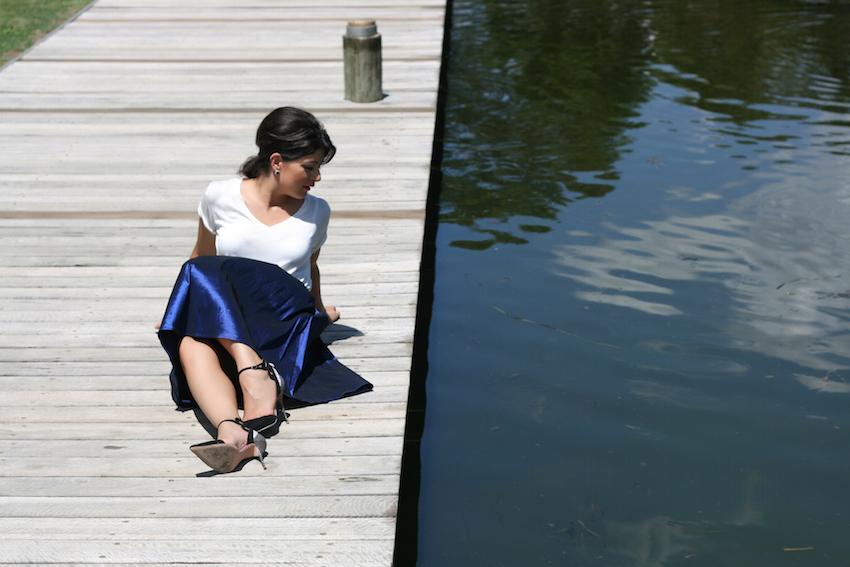 Blue Midi Skirt White Tee style