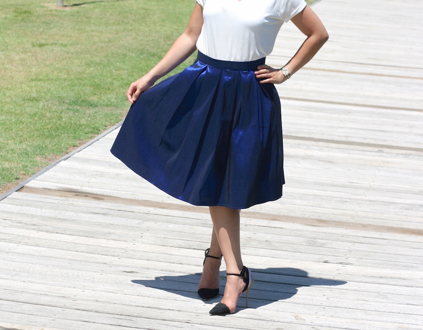Blue Midi Skirt White Tee
