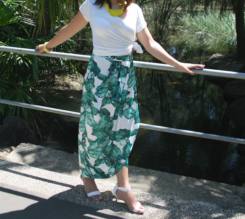 Floral Green Long Skirt white T Shirt style